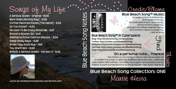 CD Booklet Inside Art for Blue Beach Song Collection: ONE | Songs of My Life by Martie Hevia