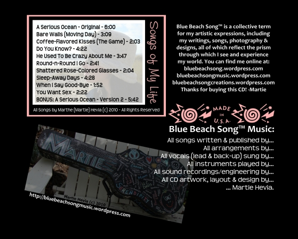 CD Tray Card (Back) Art for Blue Beach Song Collection: ONE | Songs of My Life by Martie Hevia