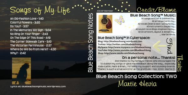 CD Booklet Inside Art for Blue Beach Song Collection: TWO | Songs of My Life by Martie Hevia