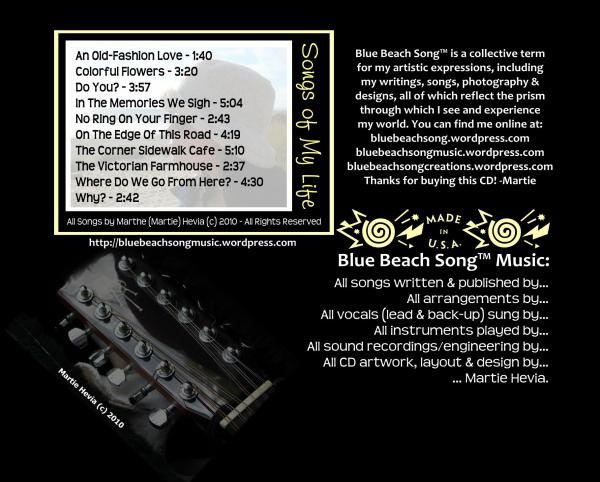 CD Tray Card (Back) Art for Blue Beach Song Collection: TWO | Songs of My Life by Martie Hevia